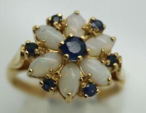 14ct yellow gold sapphire & opal ring