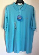 COLUMBIA Elm Creek Polo Shirt Large Turquoise Omni-Wick UPF 15 $45 For $20