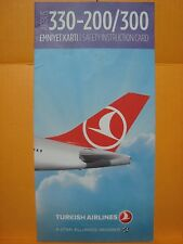 TURKISH AIRLINES THY AIRBUS 330 200 300 SAFETY INSTRUCTION CARD FOR COLLECTORS