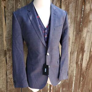 Hugo Boss Super 100s Blazer Wool Mens 44R Blue Nailhead Double Vent 2 Button NWT