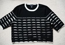 TOPSHOP black white contrast scallop knit boxy cropped jumper UK 10