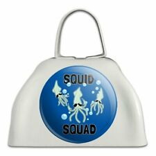 Squid Squad Ocean Aquatic Funny Humor White Metal Cowbell Cow Bell Instrument