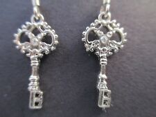 Disney Earrings Crystal Key Dangle Signed Park Exclusive