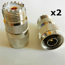 2 x N Type Male to UHF Female SO239 PL-259 Adapter Converter