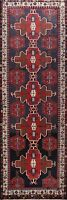 Vintage Geometric Traditional Navy Blue 9 ft Hamedan Runner Rug 9' 3'' x 3' 6''