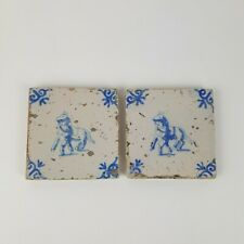 More details for unusual pair of small antique delft blue & white tiles horse and attendant 7.5cm