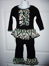 NWT ANN LOREN 2-3T Aria Black White Mint Green Ruffle Top And Leggings Set 2T-3T