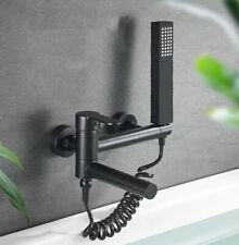 Black Bathroom Shower Faucet Wall Mounted Bathtub Mixer Tap Dual Ways Handheld