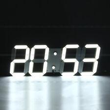 3D LED Horloge Murale Numérique 24/12H Calendrier Température Date Blanc Lumière