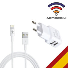 ACTECOM® CARGADOR PARED DOBLE USB + CABLE USB BLANCO PARA IPHONE X / 7 / 8 PLUS