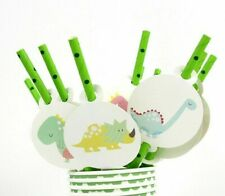 Baby Shower Disposable Paper Straws Animal Design Party Need Tableware Set 12pcs