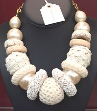 "Lenora Dame Statement Necklace ""Piped Icing"" White Fabric Balls Pearls Now $70 !"