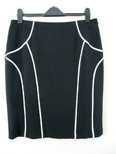 fd1c8bab8 M&S Woman skirt size 14 black with white piping.straight Smart occasion  unusual.