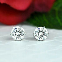 Round 2.00 Ct Solitaire Real Diamond 6 Prongs Stud Earrings 18K Solid White Gold