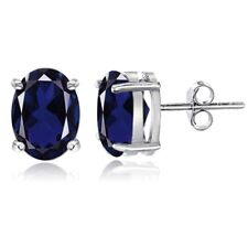 Sterling Silver Created Blue Sapphire 8x6mm Oval Stud Earrings