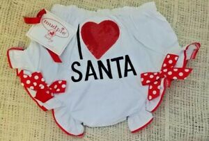 """NWT Mud Pie Baby """"I Love Santa"""" Baby Bloomers 12-18 Months Diaper Cover Sequins"""