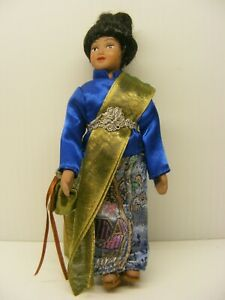 vintage 6in. Nice chinese PORCELAIN DOLL  traditional blue dress