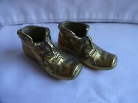 PAIR OF SMALL  ANTIQUE BRASS BOOTS HEIGHT 3.5 cm x 7.5 cm