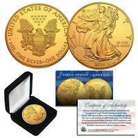 2016 Genuine 1 oz .999 Silver American Eagle U.S. Coin 24KT Gold Plated with BOX