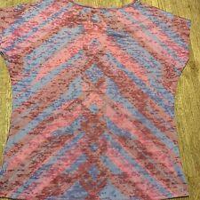 PrAna Womens T-Shirt Pink Purple Chevron Burnout Cap Sleeve Scoop Neck Top S