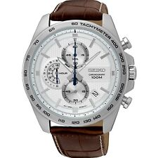 Seiko Men's 44mm Brown Leather Band Steel Case Quartz White Dial Watch SSB263