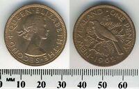 New Zealand 1962 - 1 Penny Bronze Coin - Queen Elizabeth II - Tui Bird