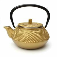 300ml Gold Cast Iron Teapot Kettle Japanese w/ Stainless Steel Infuser Gift