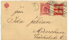 Austria 1907 6H Orng Ovpt Red Bar & Uprated To 10H Reply Front Card To Munchen R