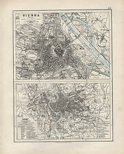 1909 Vittoriano mappa ~ Vienna Wien DINTORNI città pianta di Roma