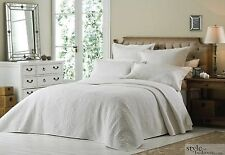 Luxury Super King Size White Quilted Embroidered Bedspread Throw 2 Pillow Shams