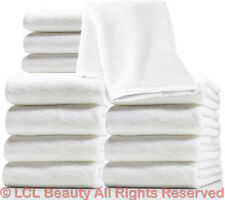 "1 Dozen 19 1/2"" x 10"" White Ultra Soft Microfiber Terry Wash Cloth Facial Towels"
