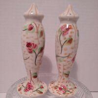 "Vintage Handpainted Porcelain Salt and Pepper Shakers Floral 7.5"" Tall 975/1"