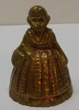 Little Red Riding Hood Brass Bell with Basket Cloak Cape Red Accents Vintage