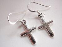 Christian Cross 925 Sterling Silver Dangle Earrings Corona Sun Jewelry