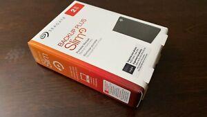 New Seagate Backup Plus Slim 2TB Portable External Hard Drive, Black - Warranty