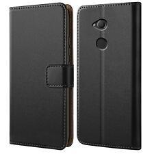 Handy Hülle für Sony Xperia XA2 Case Schutz Tasche Cover Basic Book Flip Schwarz