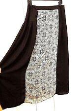 Lapis Black and White A-Line Rear Zip Long Flowing Skirt Sz XL