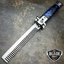 Automatic Push Button Folding Comb Switchblade Knife Looking Brush Blue Swirl
