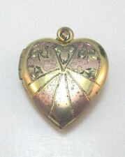 VINTAGE 12K YELLOW GOLD FILLED HEART LOCKET PENDANT  MARKED ALL **