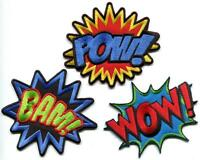 Lot of 3 POW! WOW! BAM! superhero comics retro fun appliques iron-on patches new