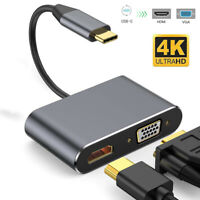 USB C to HDMI VGA Adapter Thunderbolt 3 For Samsung S10/S9/S8 Macbook Pro