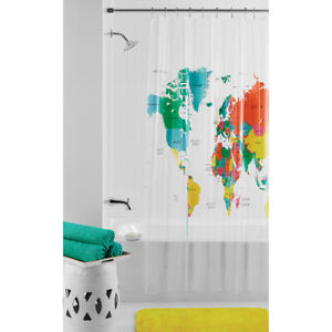 Mainstays World Map Shower Print Curtain PEVA Vinyl Waterproof Bathroom Décor