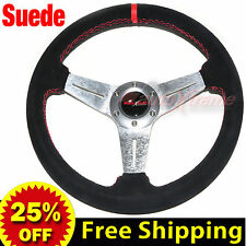 """JDM 350mm 14"""" SUEDE LEATHER FLAT DISH Racing Steering Wheel RED Stitches SILVER"""