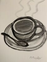 "M.Mercogliano Original Watercolor Coffee Cup Painting 9x12"" Art Drawing Signed"