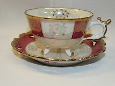 VINTAGE JAPAN PEARLESCENT LUSTER CUP & SAUCER SET MAROON W/GOLD TRIM RETICULATED