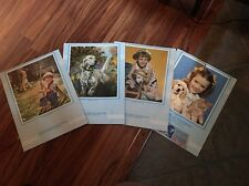 Rare (4) Piece 1956 Calendar Blank Set Little Boy And Girl With Dogs And Cats