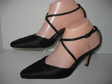"nina womens size 6 1/2 m black fabric 3 1/2"" heel pointed toe dress pumps"
