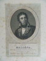 Antico Incisione XIX Ritratto André Massena Ménard & Desenne Circa 1824