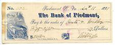 1887.  Bank of Piedmont, West Virginia   Bank Check.