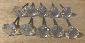 10 X Glass Cabinet Drawer Knobs/Handles  - Antique Look
